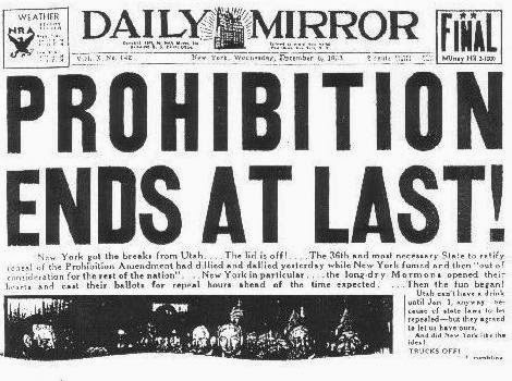 We were pretty excited to drink legally. Here's a NY newspaper headline from the 6th of December 1933.